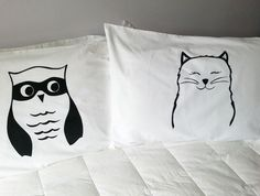 Pair of Handprinted Pillowcases - The Owl and The Pussycat $35