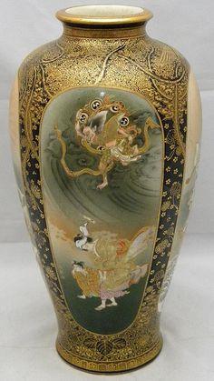 A bride and a demon Japanese Vase, Japanese Porcelain, Japanese Ceramics, Japanese Pottery, Korean Art, Asian Art, Satsuma Vase, China Painting, Pots