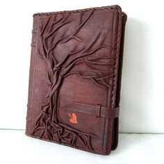Expensive but impressive handmade leather notebook, book cover, diary - Tree of Life
