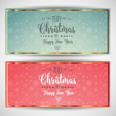 Cute christmas greeting cards Free Vector