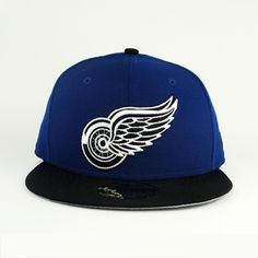 Detroit Redwings Royal Blue & Black With Gray Under Brim