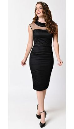 1950s Black Dotted Tulle Sleeveless Satin Joni Bridal Wiggle Dress
