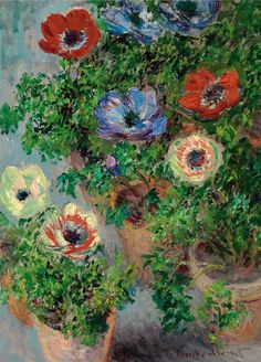 Claude Monet, Anémones en pot (1885). Saw his home/gardens. He gave his best to capture natures beauty....for us to stop and appreciate.