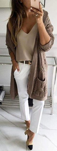 #winter #outfits cárdigan marrón