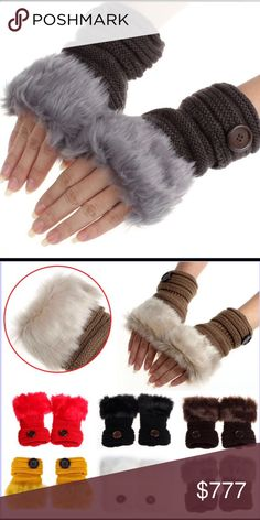 Winter Fingerless Gloves Warm luxury wool faux rabbit fur wrist fingerless gloves. Great for us ladies that are always Poshing away. Color Deep Gray. Please check out other items in my closet. Price Firm Unless Bundled Accessories Gloves & Mittens