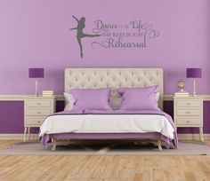 Dance is Life the rest is just rehearsal vinyl wall art wall words wall quote wall decal wall sticker for Teen Bedrooms