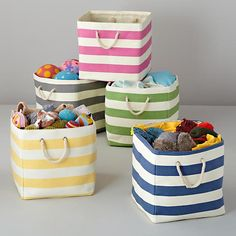 The Land of Nod | Kids Storage: Striped Cube Floor Bins in Floor Storage. They have so many organization for kids room! I love all their bins and really not super, super bad in price!