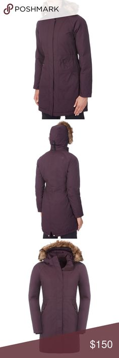 North Face Arctic Parka Arctic Parka in Baroque Purple. Insulated winter trench coat with waterproof, breathable exterior and thermal 550-fill down insulation.  Removable hood with zip-off faux-fur trim.  One-way zip and snap-close pockets. Hidden stretch mittens. Quilted lining and elastic waist. North Face Jackets & Coats Trench Coats