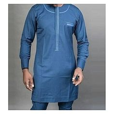 Two-piece steel blue long sleeve senator wear Delivered within 5 - 7 business days African Shirts For Men, African Dresses Men, African Attire For Men, African Clothing For Men, African Wear, Latest African Men Fashion, Mens Traditional Wear, Dashiki For Men, Native Wears