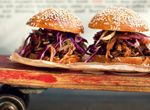 Pulled pork sandwich with apple cider slaw