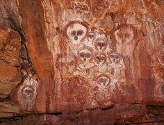 Aboriginal pictographs known as Wandjina in the Wunnumurra Gorge, Barnett River, Kimberley, Western Australia.  Indigenous Australian art - Wikipedia, the free encyclopedia