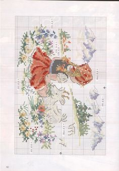Free cross stitch pattern for Heidi Cross Stitch Fairy, Cross Stitch For Kids, Cross Stitch Kitchen, Cross Stitch Animals, Cross Stitch Flowers, Cross Stitch Charts, Cross Stitch Designs, Cross Stitch Patterns, Cross Stitching