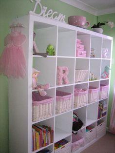 Cute idea for girl's room storage. I think I need to go to Ikea soon!