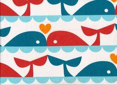 Organic Marine Whale Love Fabric