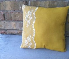 lace pillow, I would use a different color than yellow though