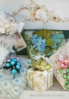 Yesterday I went out seeking vintage wallpaper to create pretty packages ala Heather Bullard.