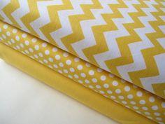 Riley Blake Yellow Fabric Half Yard Bundle - Small Chevron, Small Dot, and Moda Solid