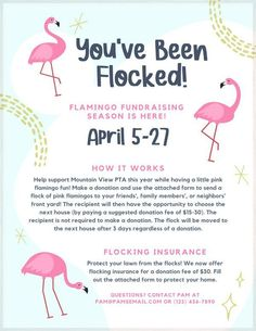 Looking for flamingo fundraising ideas? Learn how to organize a profitable pink flamingo fundraiser for your school, PTA or PTO with our editable flyers, yard signs, and printable order forms. Who knew plastic flamingos would be so great for raising money?! Learn how to create You've Been Flocked instructions and choose suggested donation amounts to ensure your fundraiser is successful at roommomrescue.com Plastic Flamingos, Pink Flamingos, Pink Plastic, Pta School, School Fundraisers, Fundraising Events, Fundraising Ideas, Flyer Free, Learn To Run