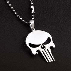 The Punisher Silver Metal Skull Pendant Necklace