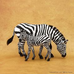 Miniature Plains Zebra mare & foal ~ freehand sculptures of BeeSputty polymer clay & flock (stripes applied with permanent artist inks). Needle Felted Animals, Felt Animals, Needle Felting, Plains Zebra, Cute Fantasy Creatures, Animal Action, Art And Craft Materials, Dangerous Animals, Miniature Crafts