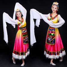 Womens Chinese Minority Folk Dance Clothing Tibetan Suit Ethnic Yangge Costumes   eBay