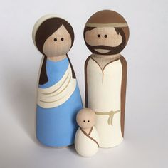 Nativity Peg Dolls - Mary, Joseph and Baby Jesus Wooden Dolls - Wooden Peg Toys