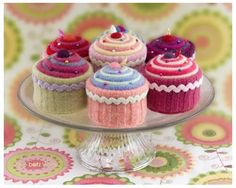 Cupcake pincushions repurposed/upcycled/made from old sweaters.