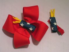 firecracker bow.  I love making bows for my daughter.  I have until July to do this :)