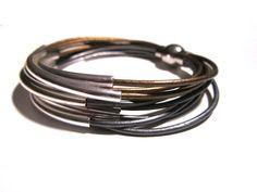 Leather Wrap Tube Bracelet - Silver
