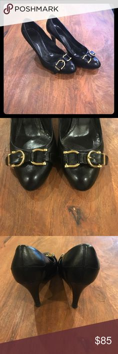 "Women's Burberry black leather heels. 37 Women's Burberry black 3"" heels. No scuff or scraps, excellent condition. Neiman Marcus sticker still on bottom. Size 37. Burberry Shoes Heels"