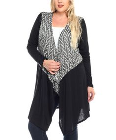 This Black & Ivory Zigzag-Contrast Open Cardigan - Plus is perfect! #zulilyfinds
