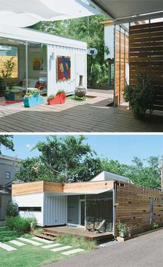 The city of Houston, Texas, has one of the largest most busiest ports in the US, which means tons of shipping containers just waiting to be recycled and transformed into affordable modern homes. The Cordell House is one of those homes, incorporating three steel containers—two 40-foot-long modules and one 20-foot-long unit.