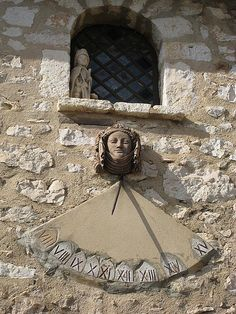 Sundial in Gourdon, France. Ancient timepieces used before mechanical clocks. Culture Of France, Solar Time, Provence, Rome City, Mechanical Clock, Medieval, Time In The World, Star Chart, Beautiful Streets