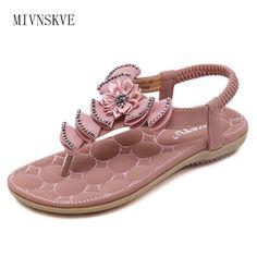 MIVNSKVE Summer Women Sandals 2017 New Fashion Bohemia Women's Shoes Flower Sandalias Femininas Casual Thong Flats Shoes Women