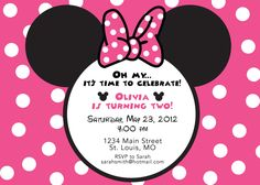 Printable Pink Minnie Mouse Invitation With Wrap Around Address - Minnie mouse birthday invitation message
