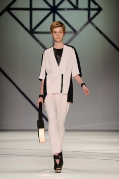 The Player jacket in blush and black silk, The Player pant in blush silk, Deception top in black coated linen. Shape Shifter shoulder bag in navy/black. Sydney Fashion Week, Ginger And Smart, Smart Dress, Vogue Australia, Get Excited, Black Silk, Ready To Wear, Luxury Fashion, Normcore