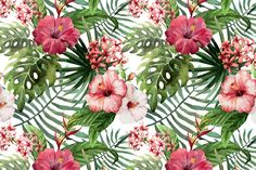 Set of Tropical Floral Patterns by Lembrik's Artworks on @creativemarket