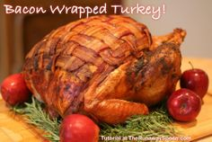 """Blanketed, Herb Roasted Turkey Tutorial :: xLaurieClarkex~ Ermahgerd!! This was amazing! I used thick cut bacon and weaver it all over,  even the legs, and secured with toothpicks. Moistest breast ever! Better even than dark meat! """"Bacon butter"""" was interesting but weird - stayed gooey under the skin. I prepped the bird the night before and covered tight with plastic wrap - bacon kept its shape very well!"""