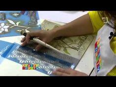 Ateliê na TV - TV Gazeta - 14.05.15 - Mayumi Takushi Stencil Art, Stenciling, Diy Videos, Craft Videos, Diy Canvas, Patches, Scrapbook, Fabric, Painting