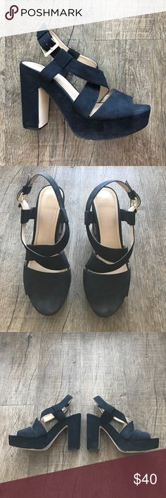 """H&M Black Platform Sandals Pre-Loved and good condition. 5"""" heel, faux suede. Normal wear. No tears! H&M Shoes"""
