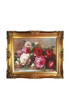 Pierre Auguste Renoir's Discarded Roses Framed Hand Painted Oil On Canvas (Multi)