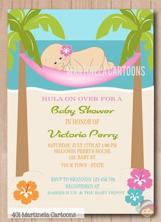 Tropical Luau Hwaiian Hula Girl Baby Shower Card Luau Baby