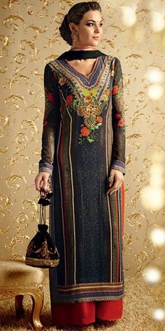 Stunning Black Georgette Straight Salwar Suit With Plazzo Pant And Chiffon Dupatta.