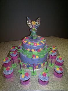 Tinkerbell 2 tier cake.