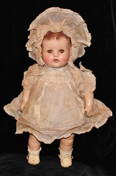 Antique Ideal Composition & Cloth Baby Doll Sleep Eyes Open Mouth Original Dress