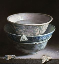 Still Life with Chinese porcelain and moths. 2014. Oil on panel. Painting by Uzbek artist Erkin