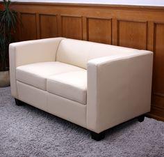 2er Sofa Couch Loungesofa Lille ~ Kunstleder, creme Sitzhöhe 48 cm 189€