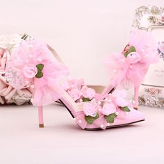 (45.00$)  Know more - http://ai76j.worlditems.win/all/product.php?id=32789408555 - Pink silk satin surface pointed wedding shoes with fine Handmade bead flower wristband bridal shoes Bow sandals with high heels
