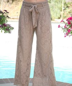 Another great find on #zulily! Brown Lace Tie-Waist Palazzo Pants by Ananda's Collection #zulilyfinds
