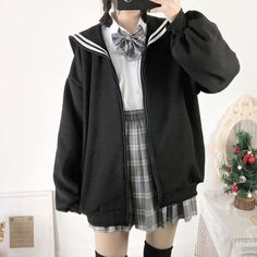 Zipper Sailor Sweater – SYNDROME - Cute Kawaii Harajuku Street Fashion Store Source by fashions Punk Outfits, Indie Outfits, Korean Outfits, Grunge Outfits, Fashion Outfits, School Uniform Outfits, Fashion Sites, Ulzzang Fashion, Harajuku Fashion
